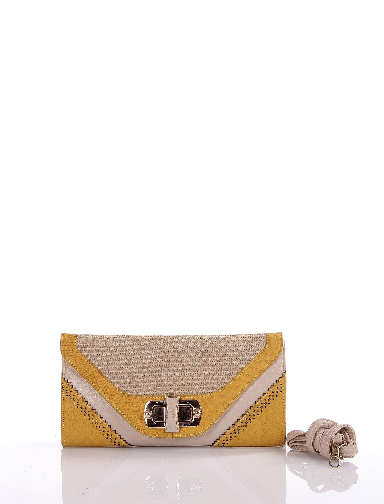 8f8a9c8e3ee76 Portföy Çantalar :: Üçgen Hasır Detay Kapak Kilitli Sarı Pörtföy
